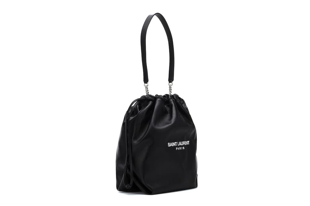 Saint Laurent Black Logo Bucket Bag Minimalist Accessory Fashion Purse