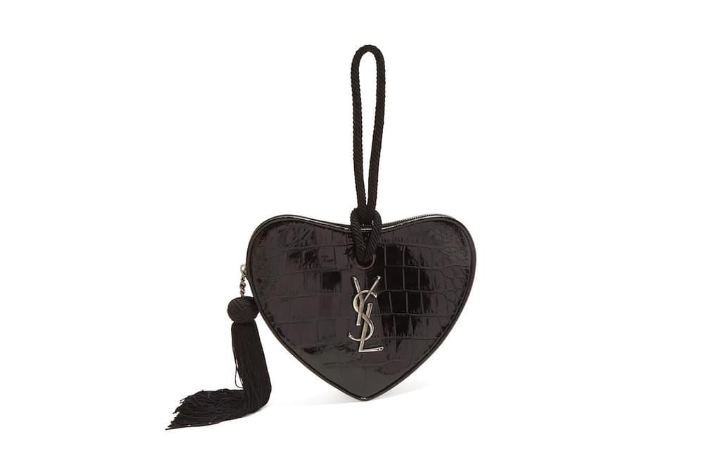 Saint Laurent YSL Yves Saint Laurent Heart Clutch Black Leather