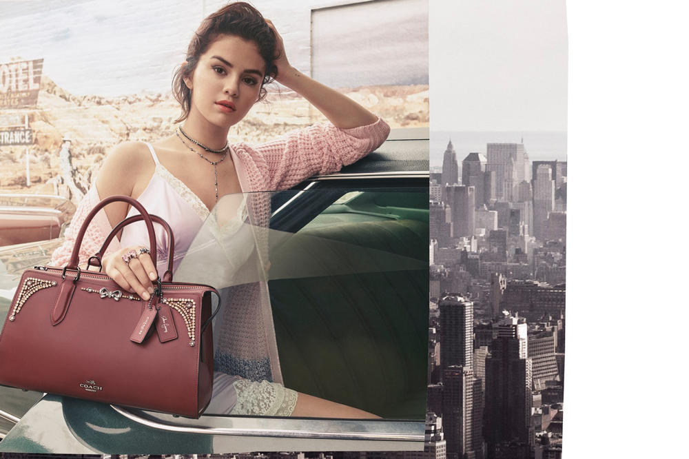 Selena Gomez Coach Campaign Second Collaboration Lace Slip Dress Purple Cardigan Pink Handbag Maroon