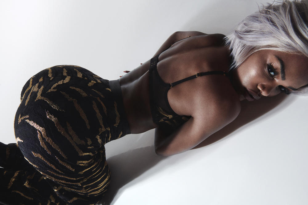 Teyana Taylor Fall/Winter 2018 Campaign Genevieve Tiger-Print Pants Bralette Gold Black