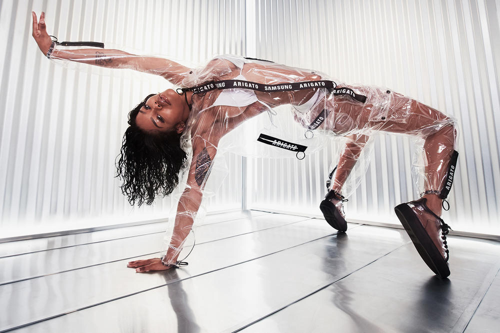 Teyana Taylor Axel Arigato Samsung Galaxy S9 Phone Collection Collaboration Transparent Jacket Trousers Pants Clean 90 Sneakers Belt Bag