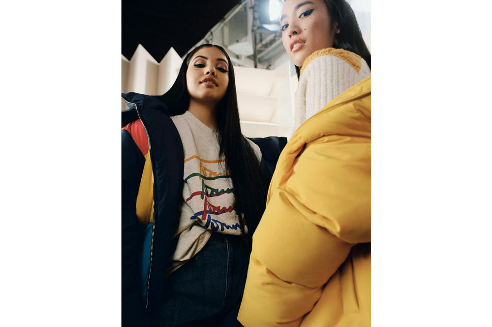 Tommy Jeans Fall/Winter 2018 Campaign Mabel Ai Shimatsu Puffer Jackets Blue Yellow Chunky Colorblock Cardigan White Red