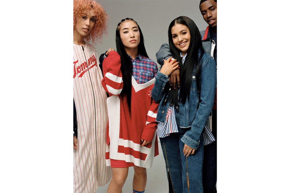 Tommy Jeans Fall/Winter 2018 Campaign Christian Combs Mabel Snoochie Shy Ai Shimatsu Baseball Dress Varsity V-Neck Sweater Red