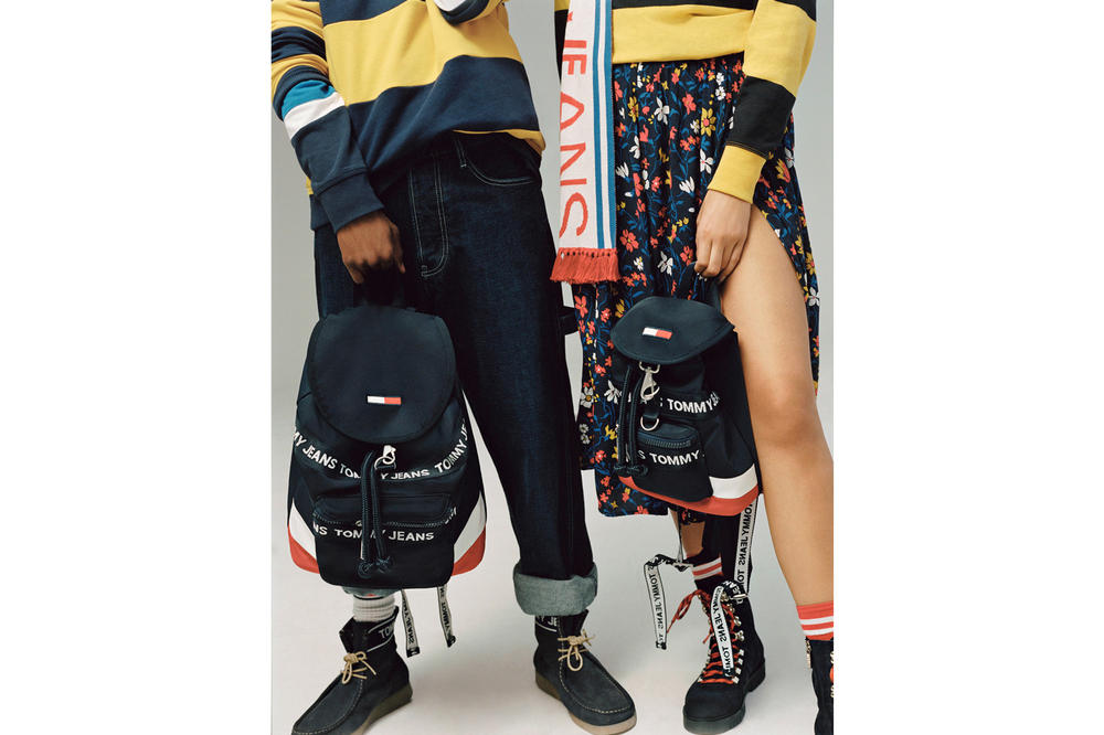 Tommy Jeans Fall/Winter 2018 Campaign Christian Combs Snoochie Shy Bags Navy Red Floral Wrap Skirt Blue