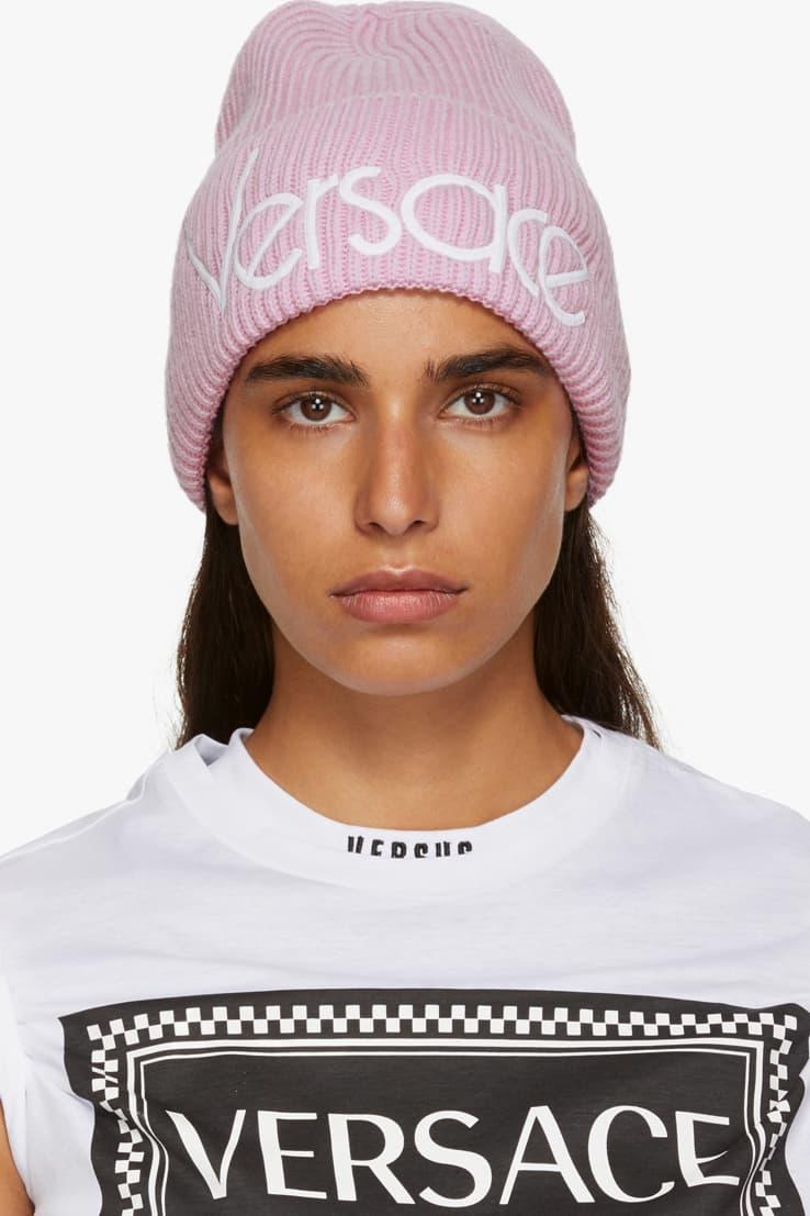 Versace Wool Logo Beanie Pink