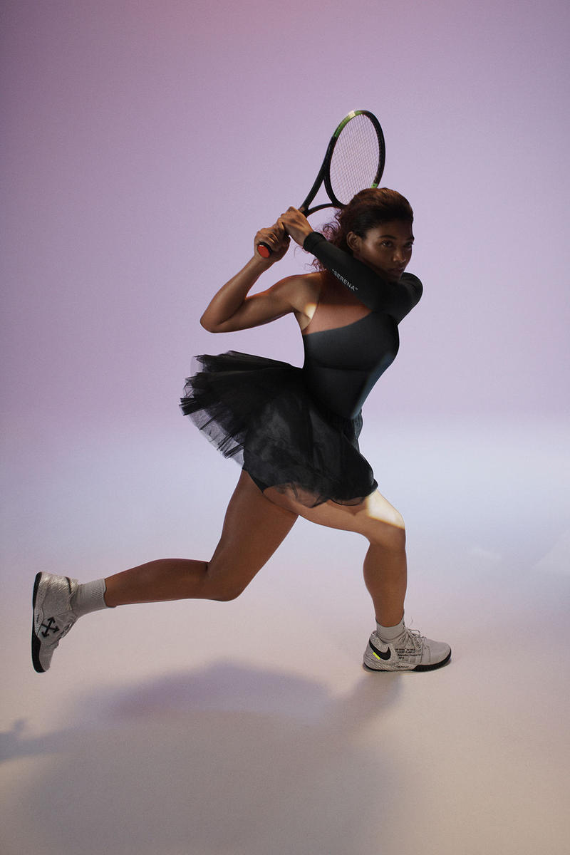 Virgil Abloh Serena Williams Off-White Nike QUEEN Collection Tulle Dress Black NikeCourt Flare 2 PE Silver