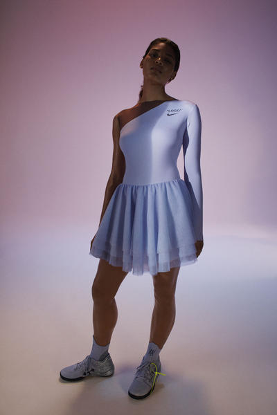 Virgil Abloh Serena Williams Off-White Nike QUEEN Collection Tulle Dress Blue NikeCourt Flare 2 PE Silver