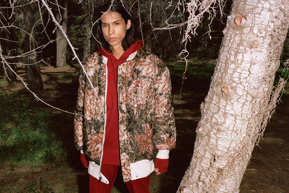 Y-3 Fall/Winter 2018 Collection Lookbook Floral Jacket Brown Hoodie Red
