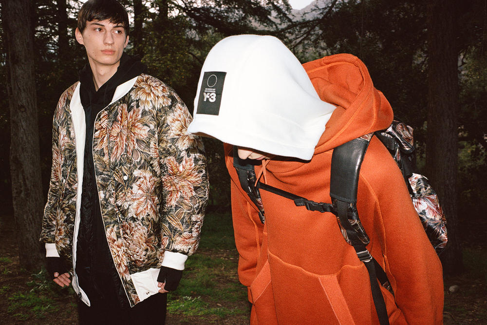 Y-3 Fall/Winter 2018 Collection Lookbook Floral Jacket Brown Hoodie Orange