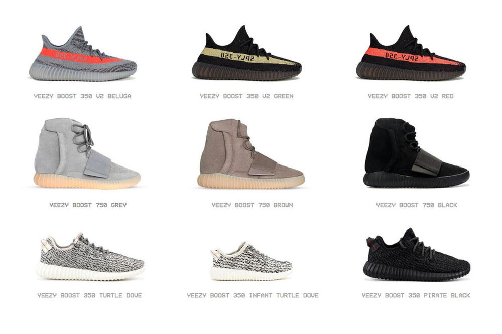 Kanye West Online Yeezy Archive Supply 350 700 500 Designs Models Shoes Sneakers Website