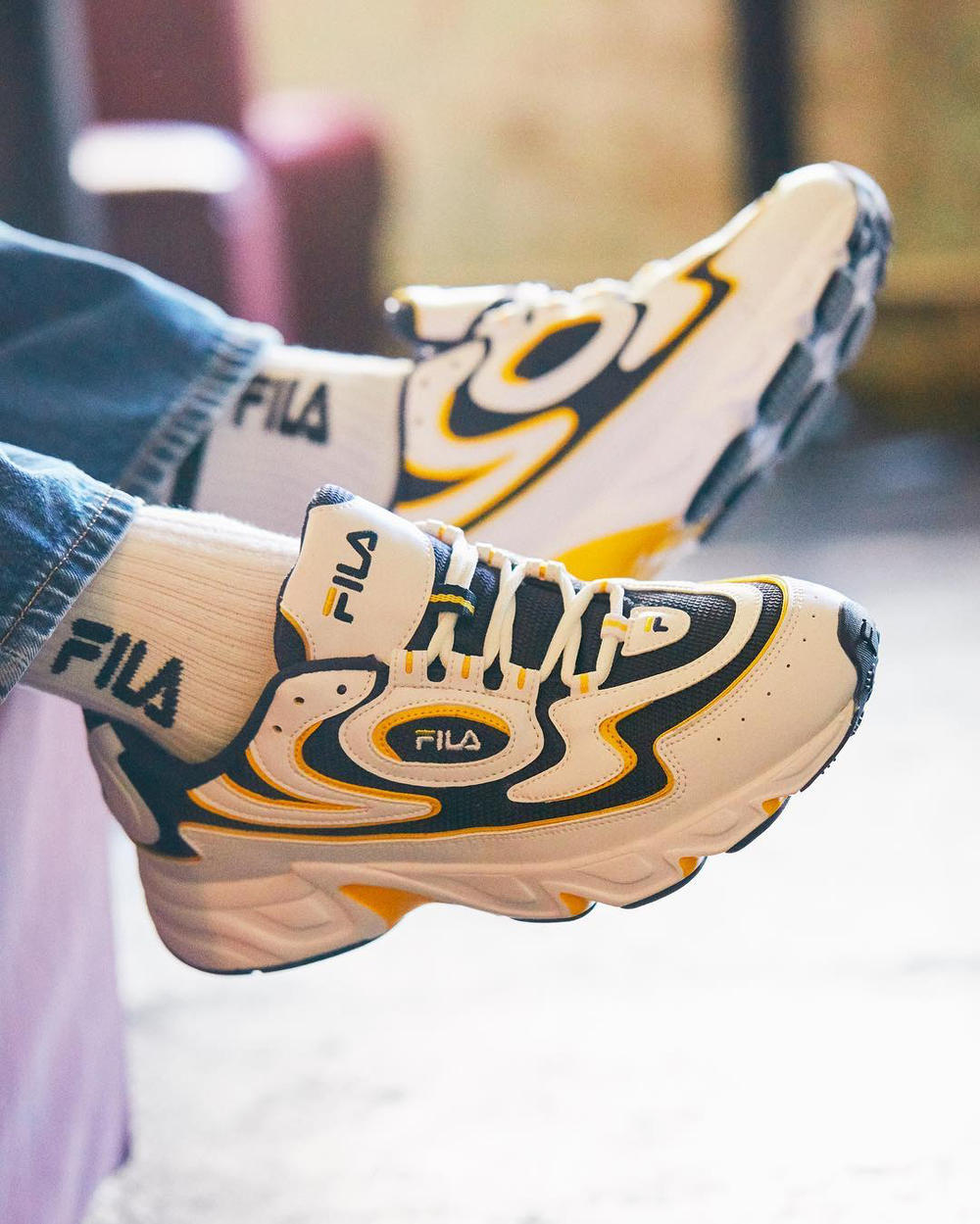 f7c8910b21e FILA Debuts New Euljiro Retro Wave Dad Sneaker Shoe White Navy Yellow