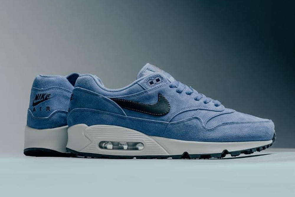 Nike Air Max 90/1 Purple Basalt Antracite Sneaker Feature SHoe Suede Blue