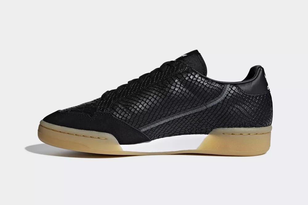 adidas originals continental 80 faux python skin core black chalk white yeezy powerphase