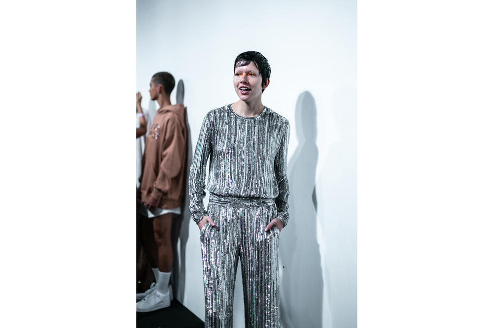 Ashish London Fashion Week Backstage Spring Summer 2019 SS19 Sequin Top Pants Silver