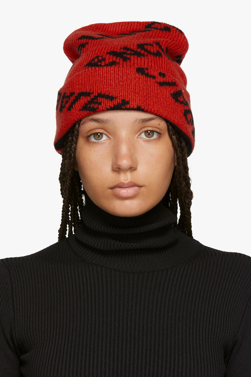 Balenciaga Cozy Logo Beanie in Red and
