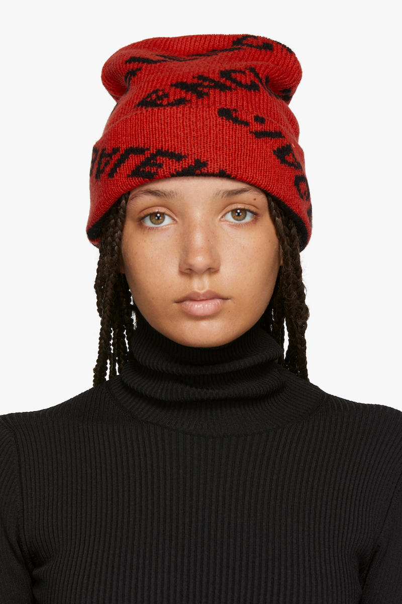 Balenciaga Cozy Logo Beanie Red Black Print Pattern Knit