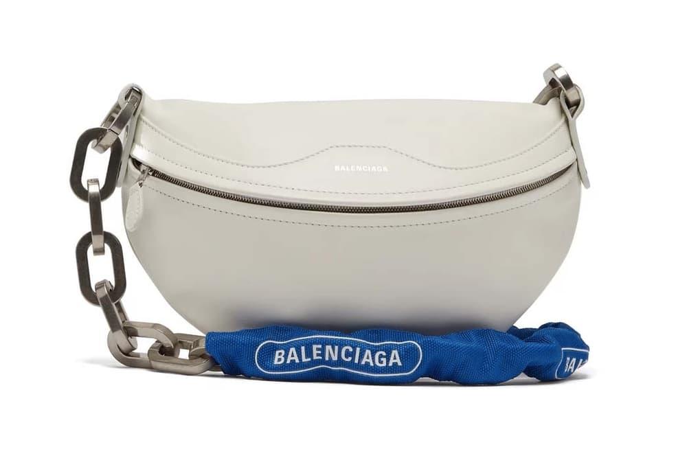 Balenciaga White Leather Souvenir Bike Chain Bag