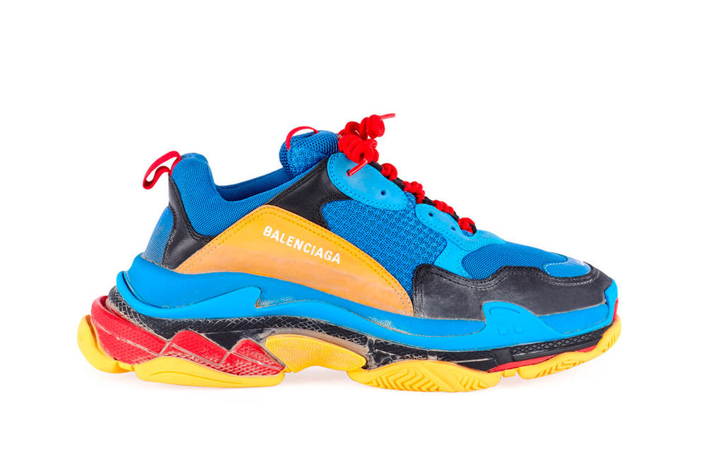 50d3805aebd Balenciaga Triple S Blue Yellow Red Laces Chunky Sneaker Footwear Shoe