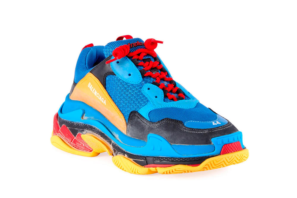 Balenciaga Triple S Blue Yellow Red Laces Chunky Sneaker Footwear Shoe