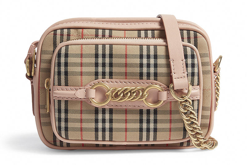 Burberry Heritage Check Plaid Pink Leather Camera Bag