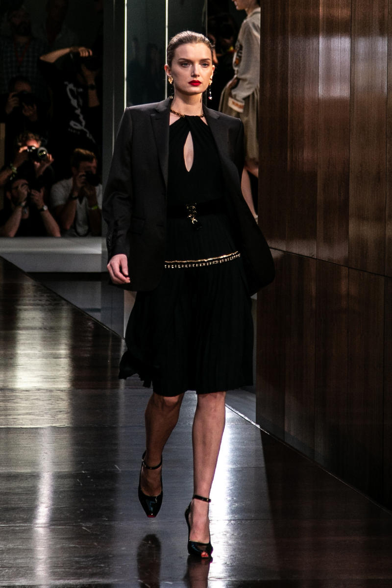 Riccardo Tisci Burberry Debut Runway Show SS19 Lily Donaldson Black Dress