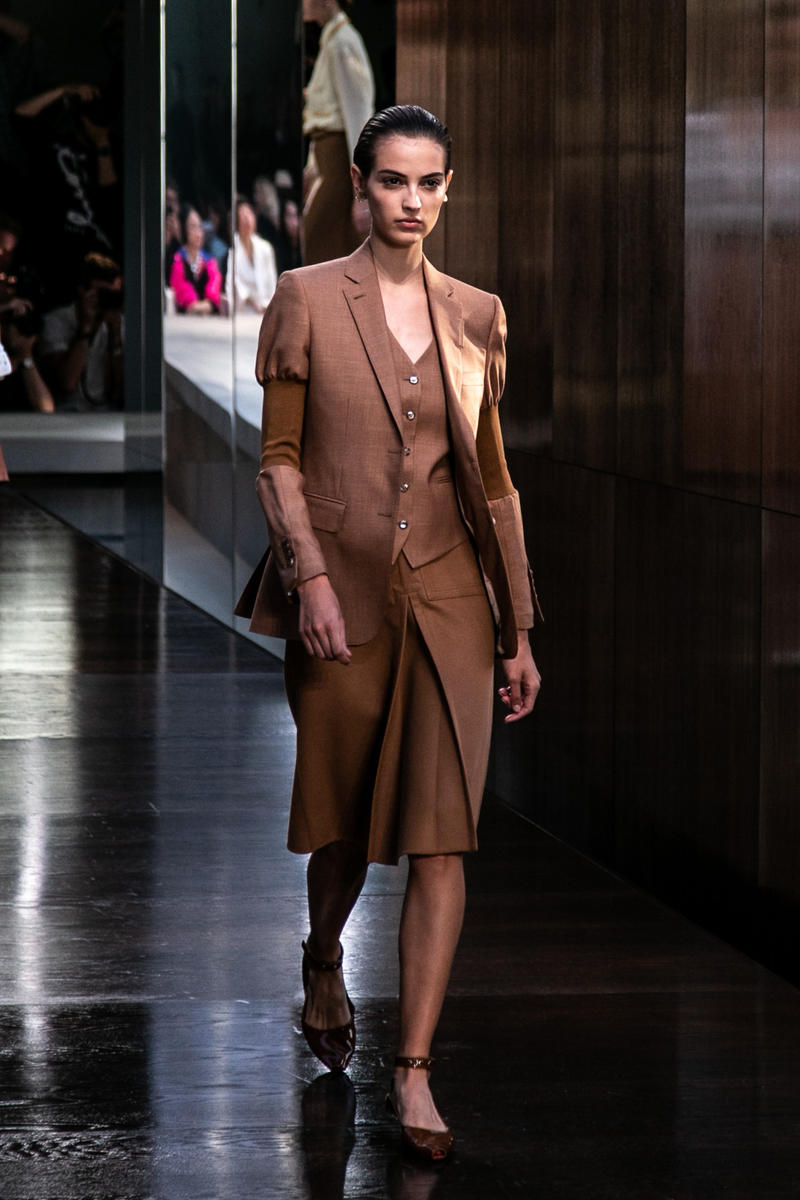 Riccardo Tisci Burberry Debut Runway Show SS19 Brown Coat Skirt