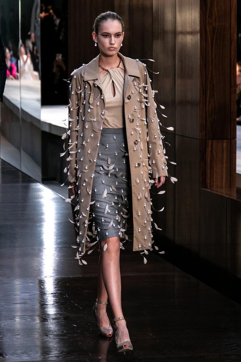 Riccardo Tisci Burberry Debut Runway Show SS19 coat pearls feathers