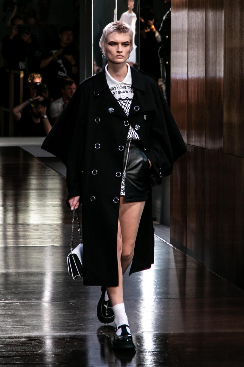 Riccardo Tisci Burberry Debut Runway Show SS19 black goth mary jane leather skirt