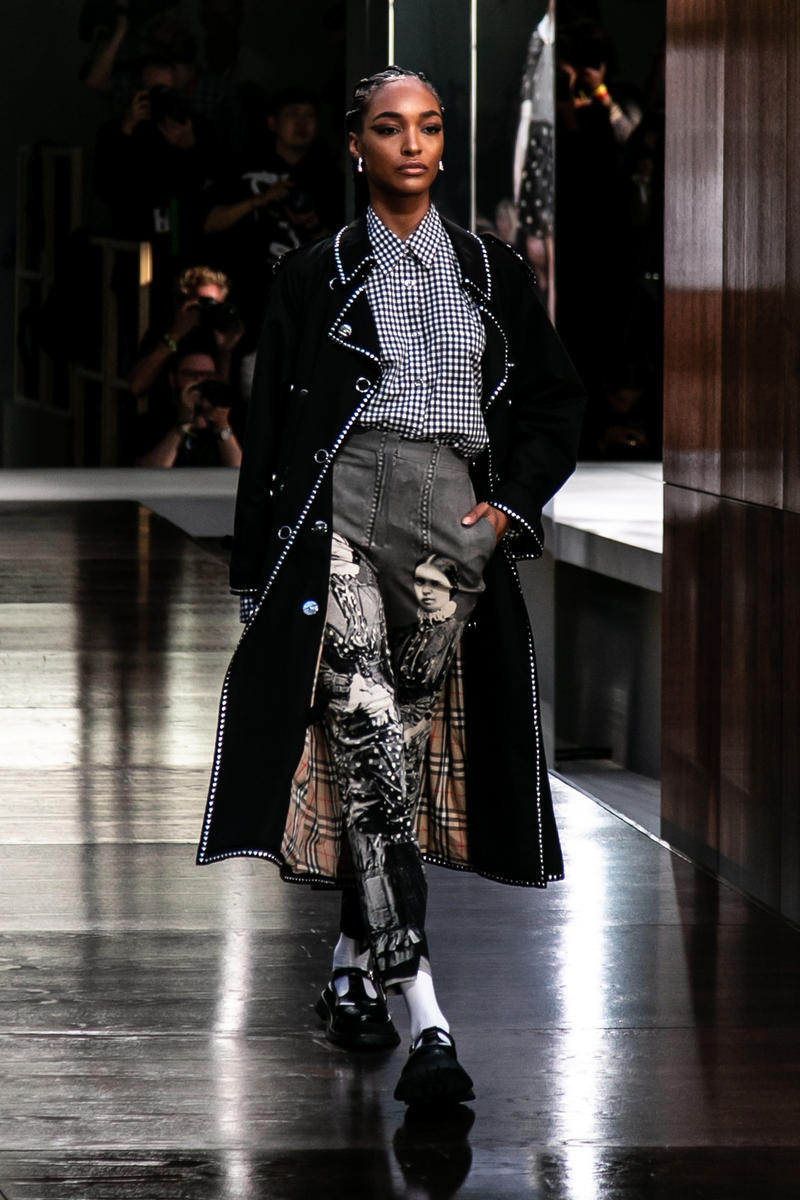 Riccardo Tisci Burberry Debut Runway Show SS19 Jourdan Dunn Pants Gingham Trench Coat Black Mary Janes