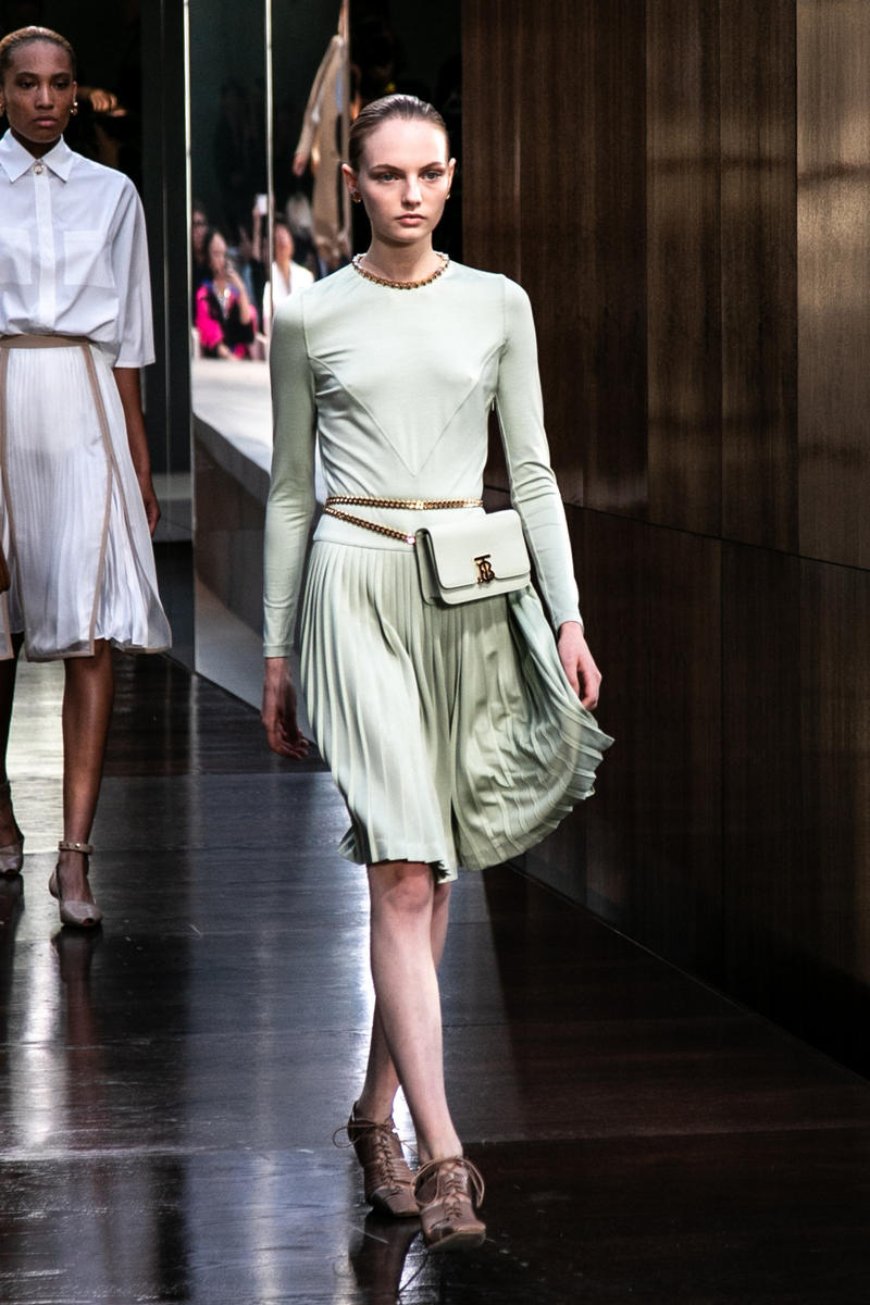 Riccardo Tisci Burberry Debut Runway Show SS19 mint green belt bag skirt fran summers