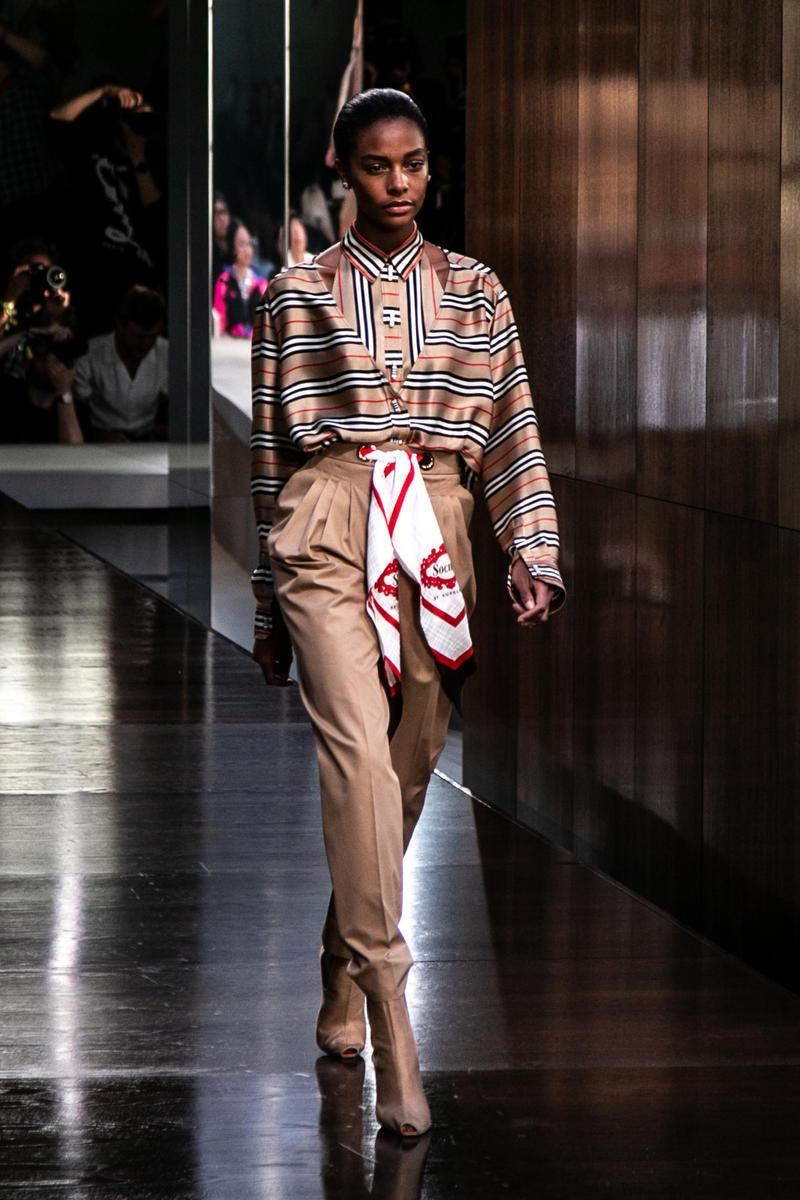 Riccardo Tisci Burberry Debut Runway Show SS19 silk scarf pants nova check shirt