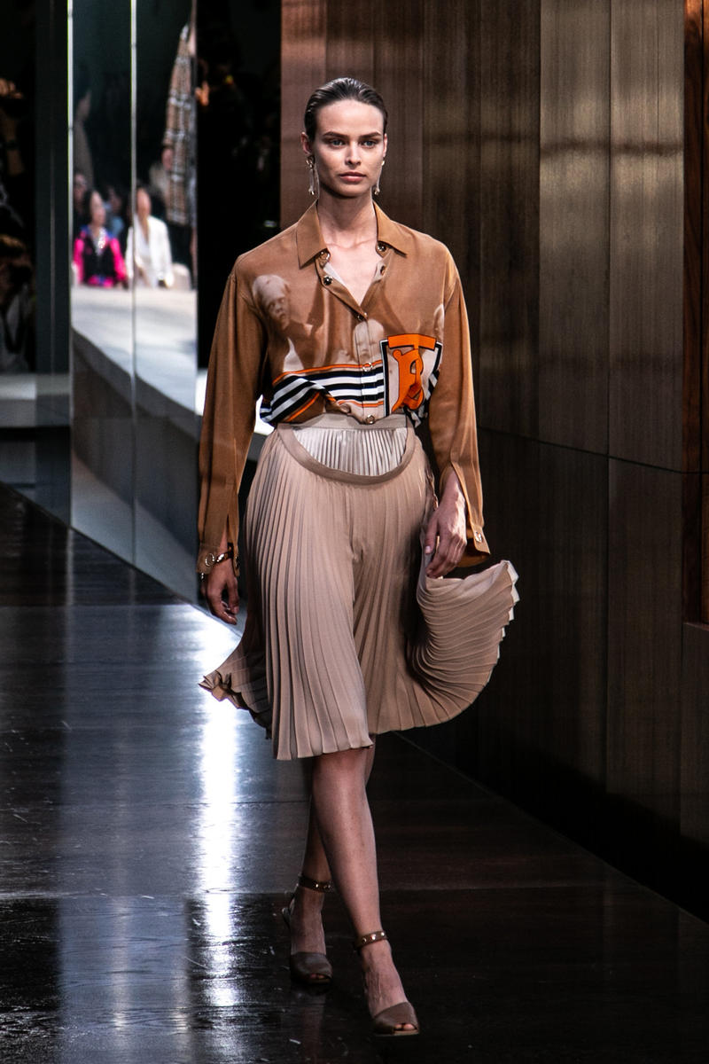 Riccardo Tisci Burberry Debut Runway Show SS19 Thomas TB Logo Shirt Skirt