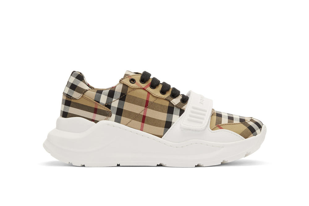 Burberry Nova Check Regis Sneaker in White Print Check Pattern Plaid Beige  White 50b53a52ee