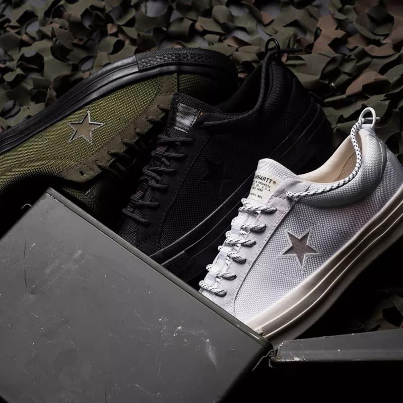 2ece8e418e30 carhartt wip converse one star ox collab collection military green white  black