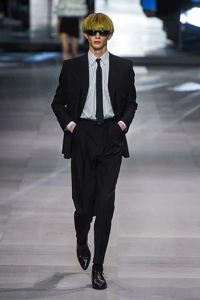 Celine Hedi Slimane Spring Summer 2019 Paris Fashion Week Show Collection Suit Tie Black Shirt White