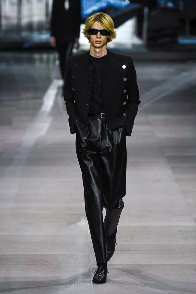 Celine Hedi Slimane Spring Summer 2019 Paris Fashion Week Show Collection Sweater Leather Pants Black