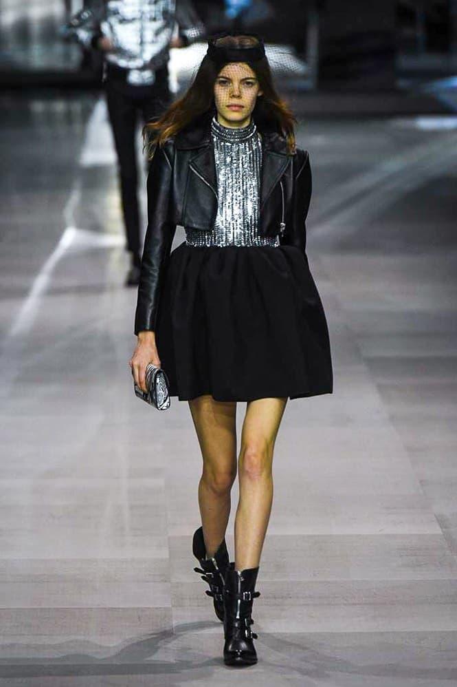 Celine Hedi Slimane Spring Summer 2019 Paris Fashion Week Show Collection Top Skirt Black