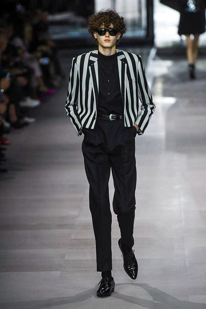Celine Hedi Slimane Spring Summer 2019 Paris Fashion Week Show Collection Jacket Shirt Trousers Black