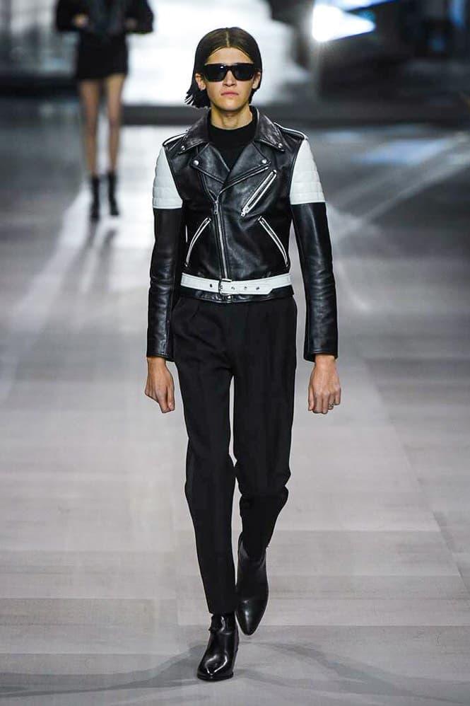 Celine Hedi Slimane Spring Summer 2019 Paris Fashion Week Show Collection Leather Jacket White Black