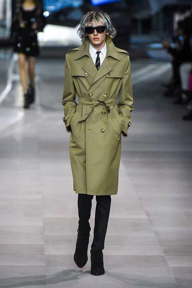 Celine Hedi Slimane Spring Summer 2019 Paris Fashion Week Show Collection Coat Khaki Top White Tie Black