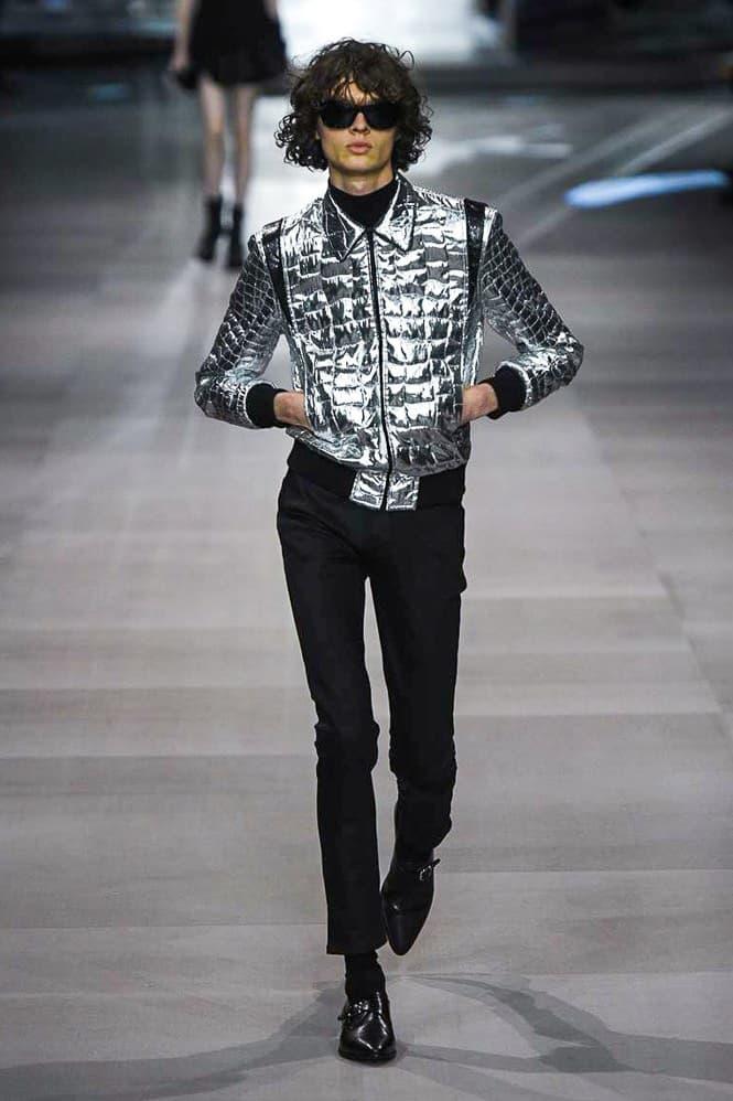Celine Hedi Slimane Spring Summer 2019 Paris Fashion Week Show Collection Jacket Silver Trousers Black