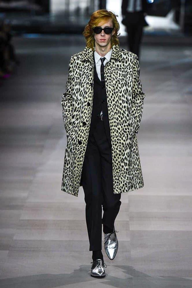 Celine Hedi Slimane Spring Summer 2019 Paris Fashion Week Show Collection Jacket Green Trousers Black