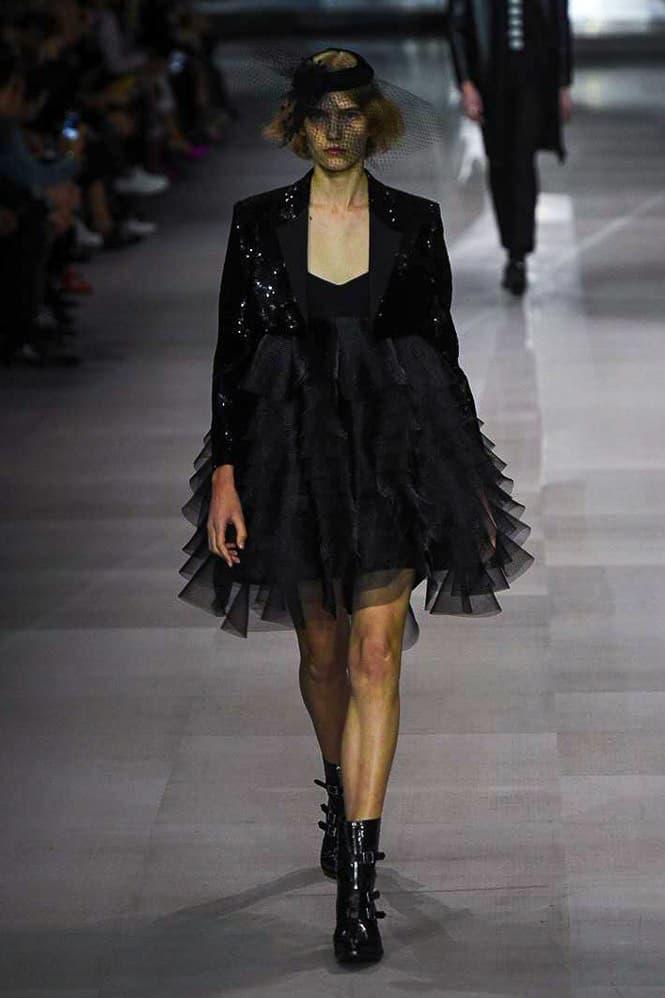 Celine Hedi Slimane Spring Summer 2019 Paris Fashion Week Show Collection Dress Jacket Black