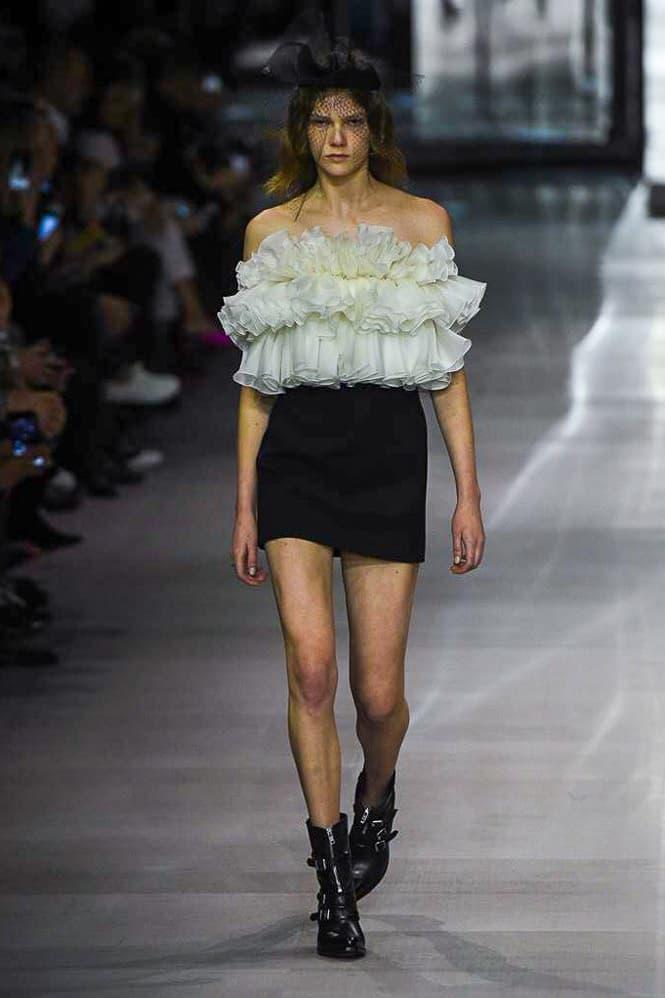 Celine Hedi Slimane Spring Summer 2019 Paris Fashion Week Show Collection Top White Skirt Shoes Black