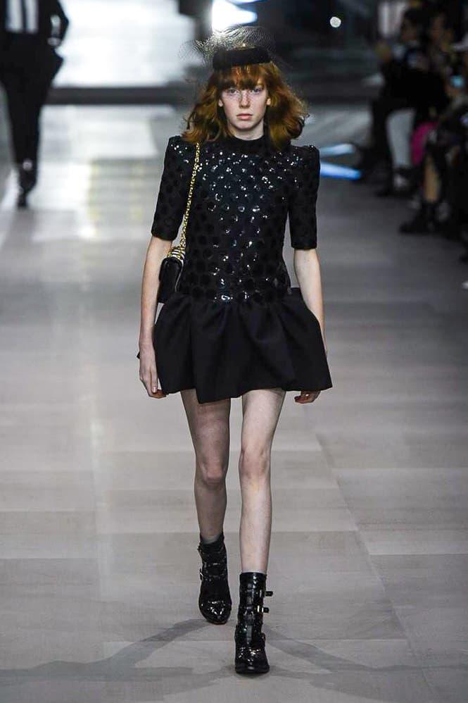 Celine Hedi Slimane Spring Summer 2019 Paris Fashion Week Show Collection Dress Black