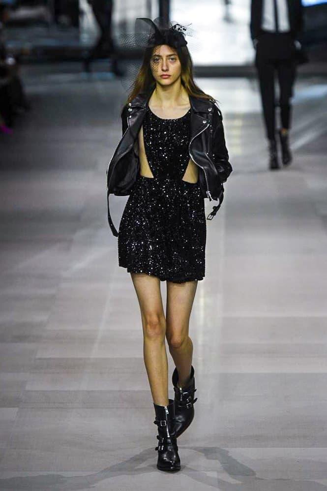 Celine Hedi Slimane Spring Summer 2019 Paris Fashion Week Show Collection Dress Leather Jacket Black