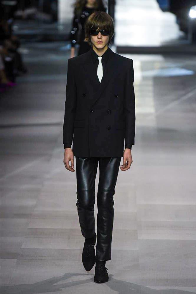 Celine Hedi Slimane Spring Summer 2019 Paris Fashion Week Show Collection Suit Leather Pants Black