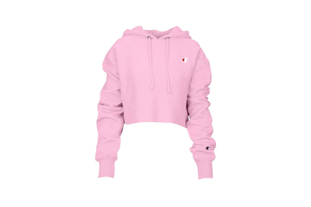 Champion Cropped Hoodie Pink Candy
