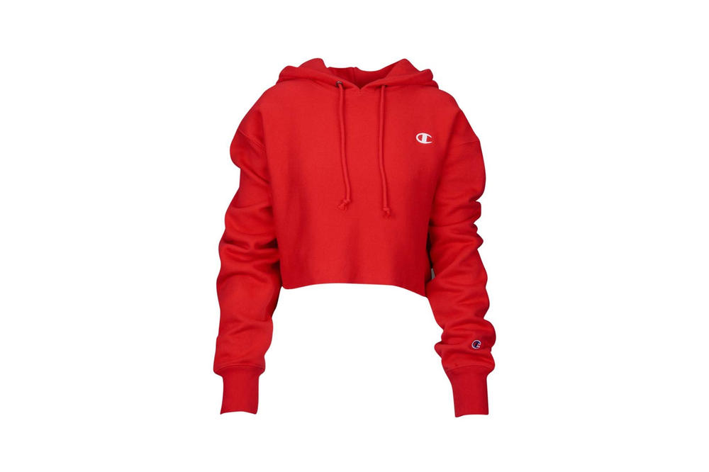 Champion Cropped Hoodie Red Spark