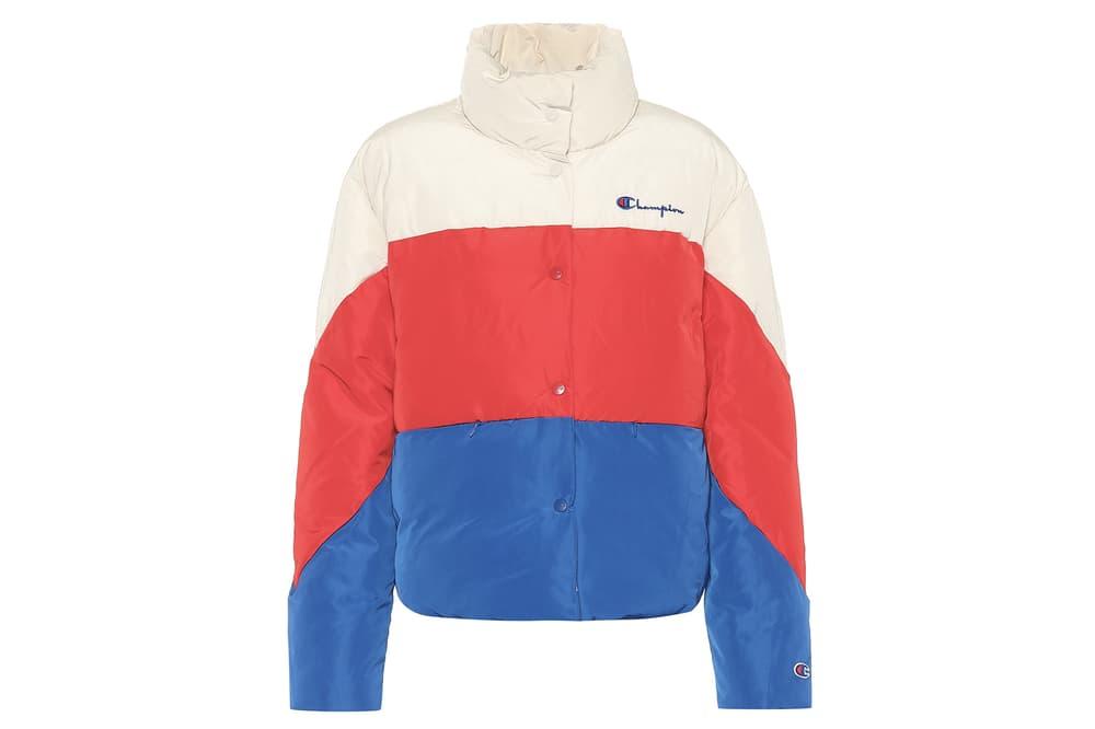 Champion Padded Logo Jacket Red White Blue Color-blocked Black